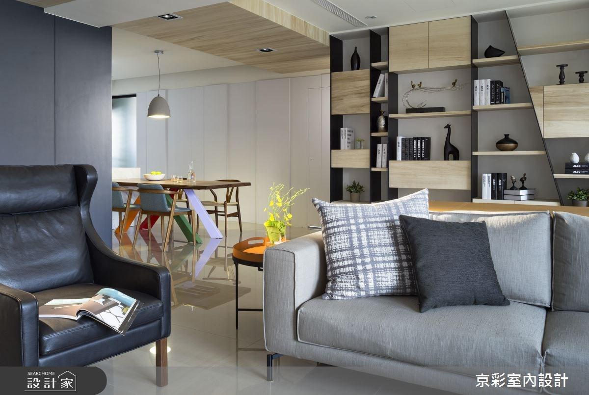 40坪新成屋(5年以下)_現代風客廳餐廳書房案例圖片_京彩室內設計有限公司_京彩_06之2