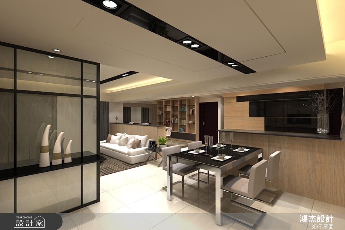 48坪新成屋(5年以下)_混搭風客廳餐廳吧檯案例圖片_鴻杰室內設計_鴻杰_06之5