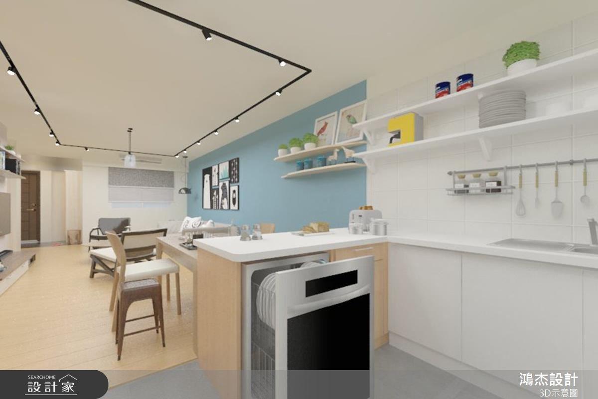 38坪老屋(16~30年)_北歐風餐廳廚房吧檯案例圖片_鴻杰室內設計_鴻杰_08之7