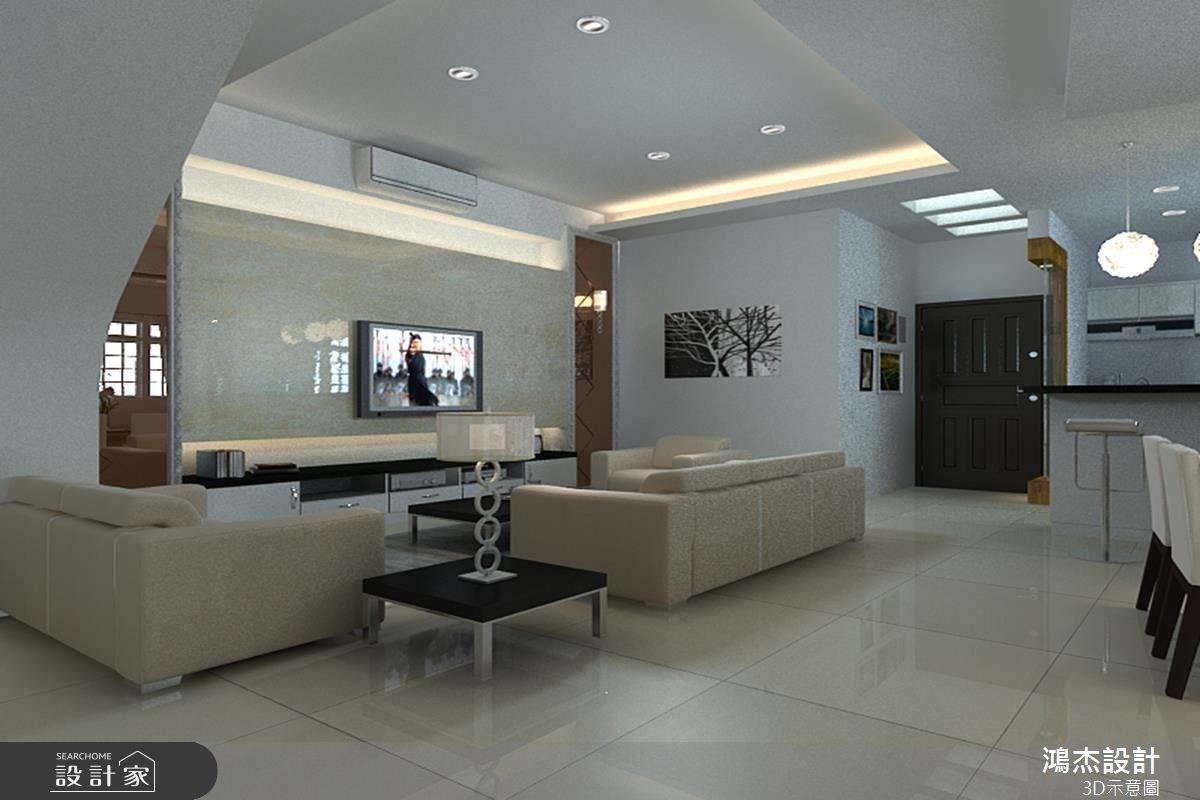 68坪新成屋(5年以下)_奢華風客廳餐廳吧檯案例圖片_鴻杰室內設計_鴻杰_10之2
