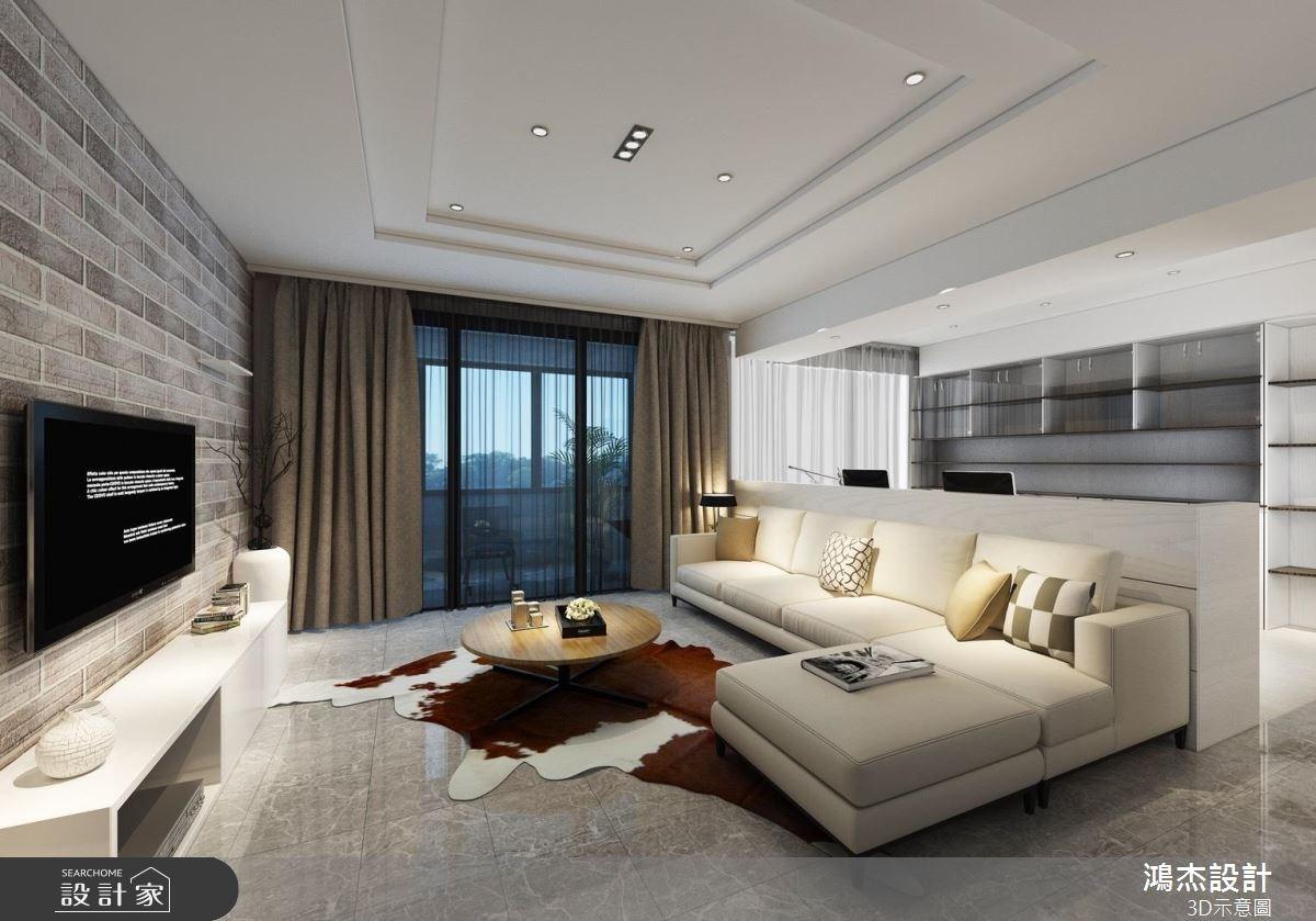 42坪新成屋(5年以下)_現代風客廳書房案例圖片_鴻杰室內設計_鴻杰_24之1