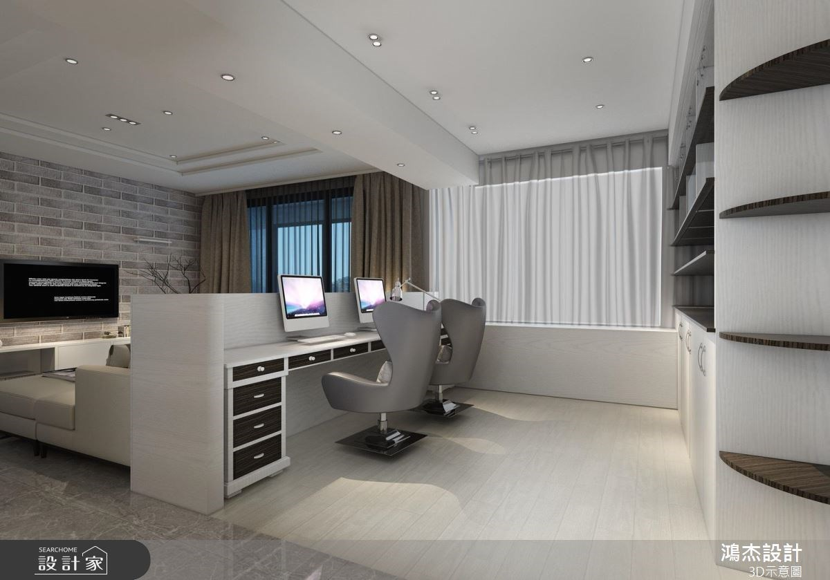 42坪新成屋(5年以下)_現代風客廳書房案例圖片_鴻杰室內設計_鴻杰_24之2