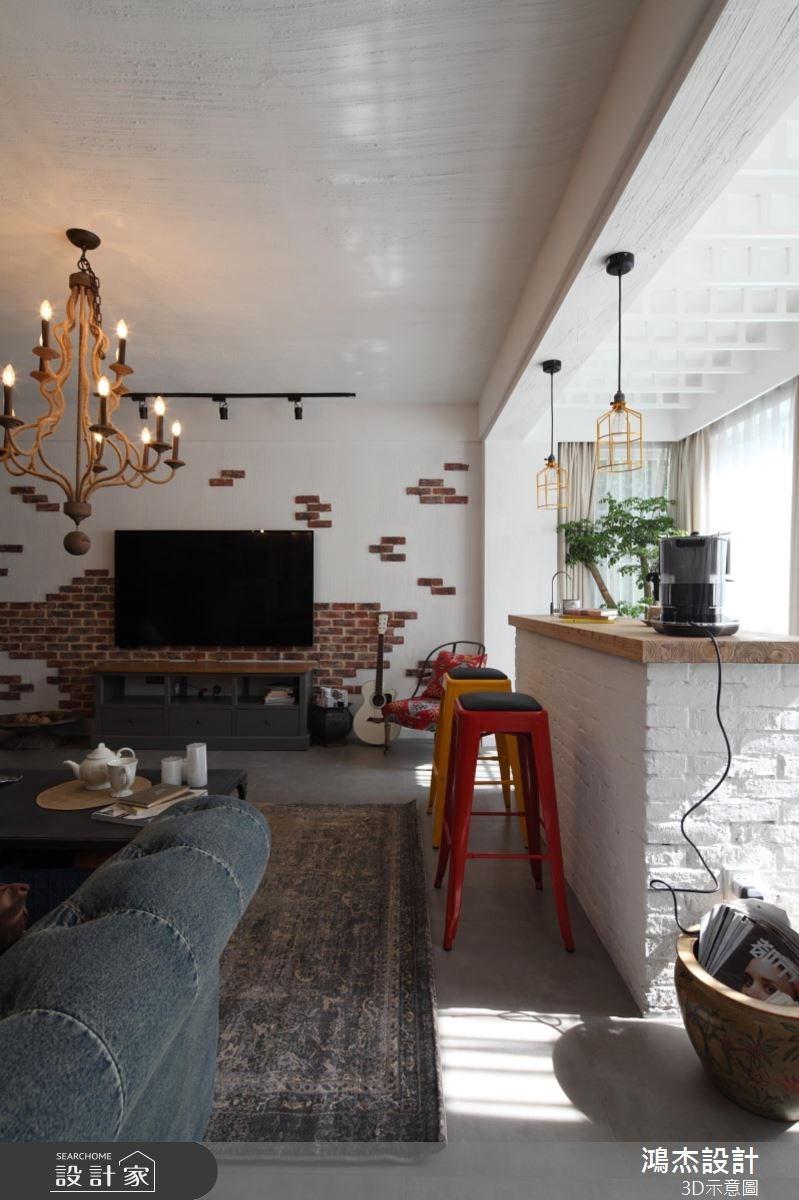 36坪老屋(16~30年)_混搭風客廳案例圖片_鴻杰室內設計_鴻杰_36之4