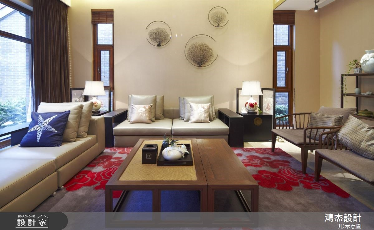 82坪新成屋(5年以下)_新中式風客廳案例圖片_鴻杰室內設計_鴻杰_39之2