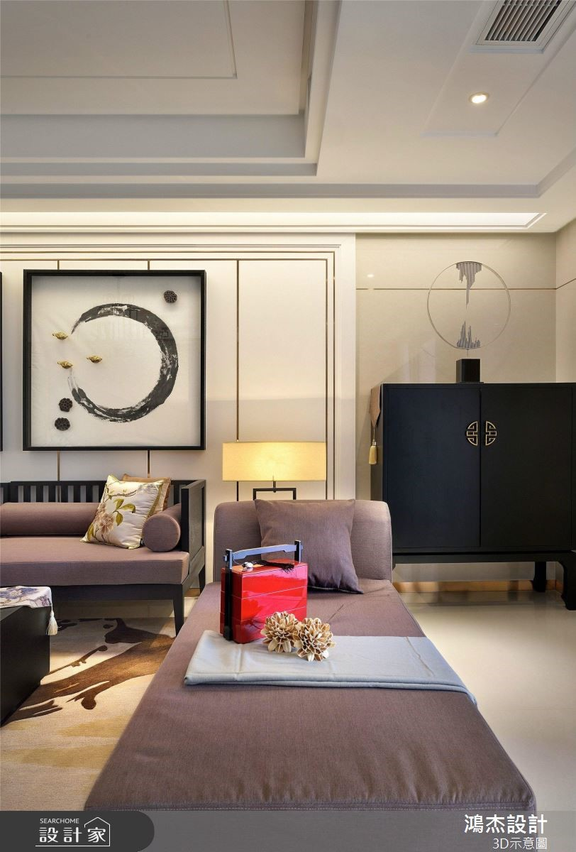 64坪預售屋_新中式風客廳案例圖片_鴻杰室內設計_鴻杰_53之3