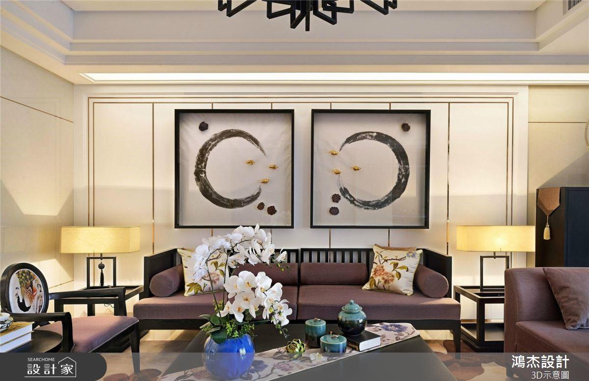 64坪預售屋_新中式風客廳案例圖片_鴻杰室內設計_鴻杰_53之2