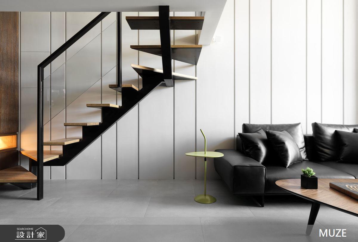 36坪新成屋(5年以下)_現代風客廳樓梯案例圖片_慕澤設計室內裝修股份有限公司_慕澤_39之4