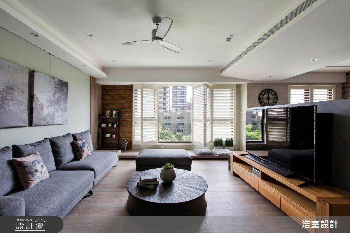 35坪新成屋(5年以下)_現代風客廳臥榻案例圖片_浩室設計_浩室_43之3