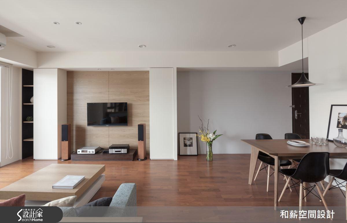 28坪新成屋(5年以下)_混搭風客廳餐廳案例圖片_和薪室內裝修設計有限公司_和薪_05之2
