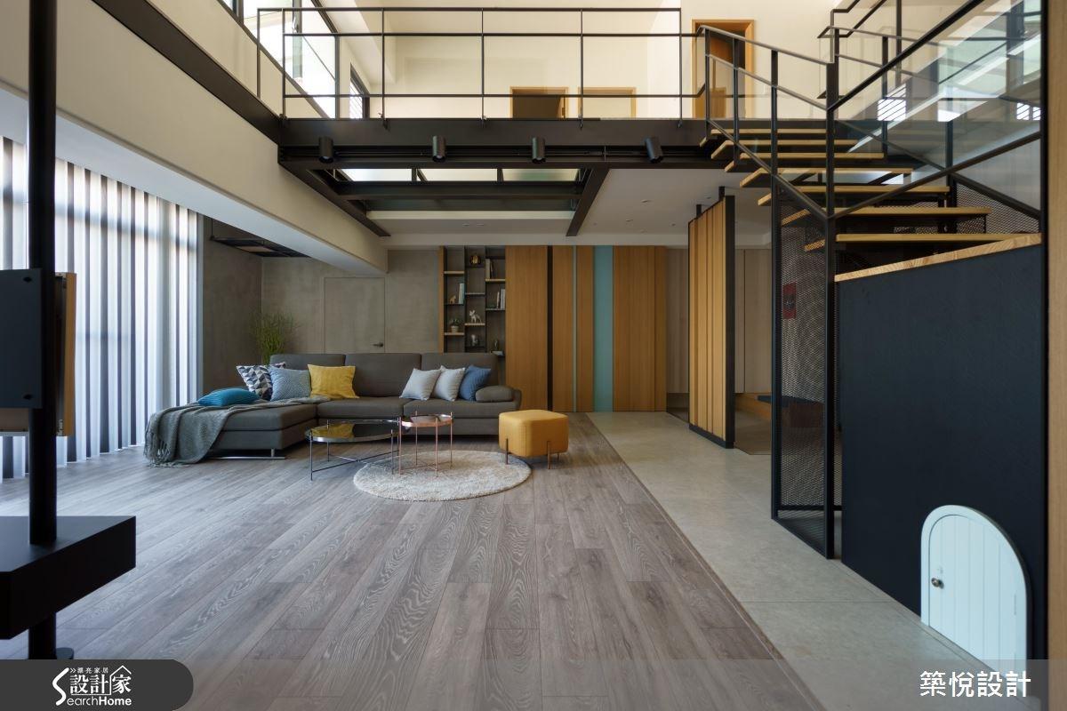 50坪老屋(16~30年)_工業風客廳樓梯案例圖片_築悅空間設計_築悅_06之4