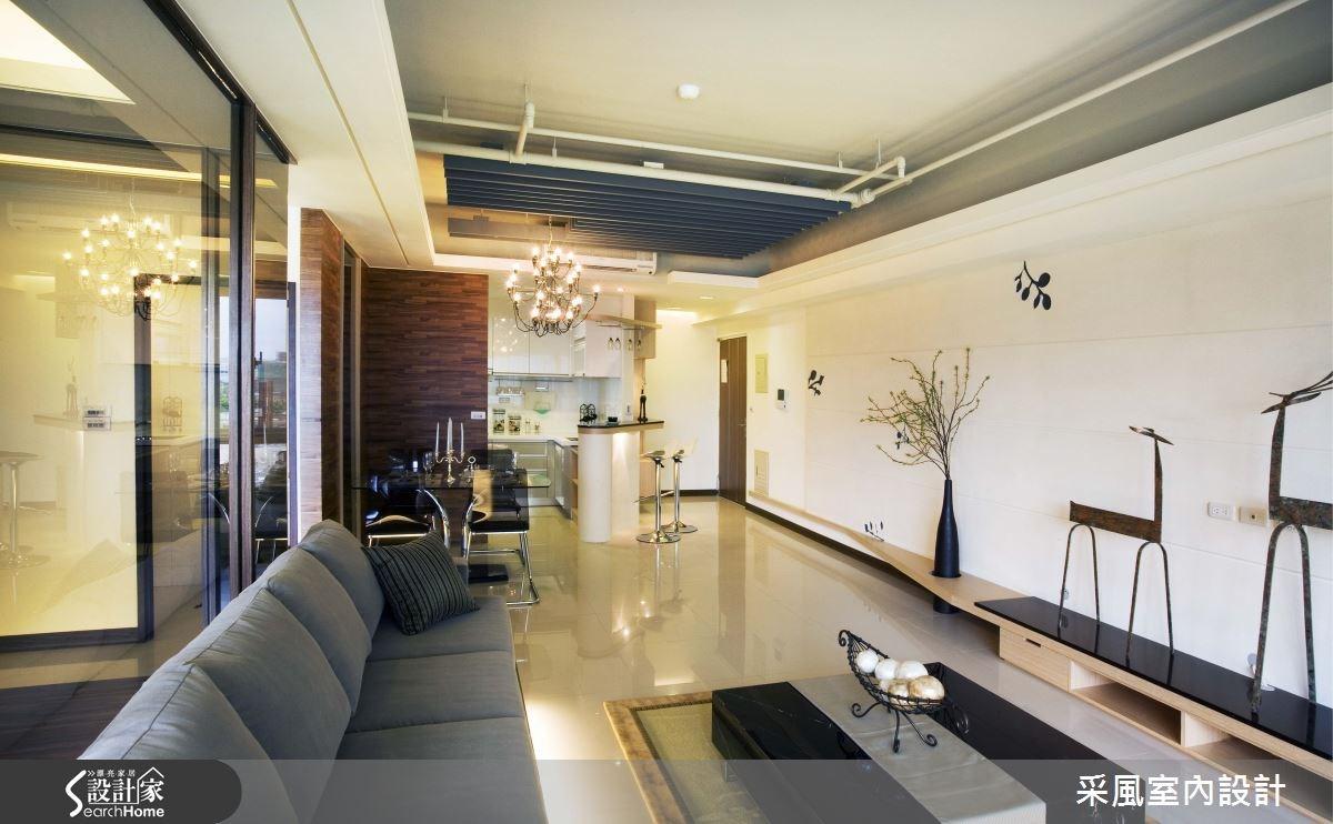 30坪新成屋(5年以下)_現代風客廳餐廳廚房吧檯案例圖片_采風室內設計_采風_01之12