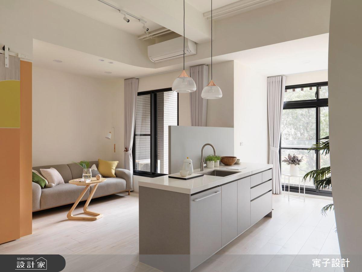 16坪新成屋(5年以下)_北歐風吧檯案例圖片_寓子設計_寓子_花圈圈之3