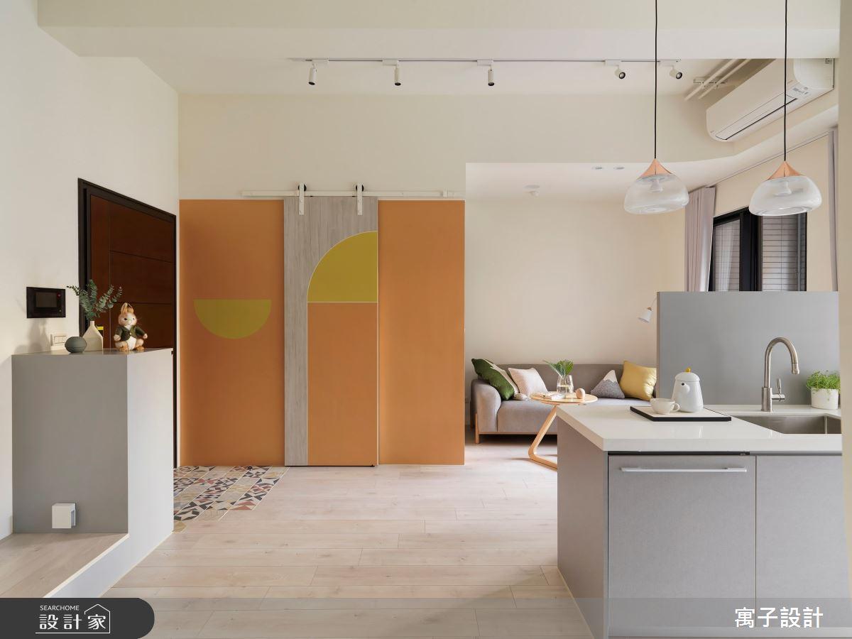 16坪新成屋(5年以下)_北歐風玄關吧檯案例圖片_寓子設計_寓子_花圈圈之2