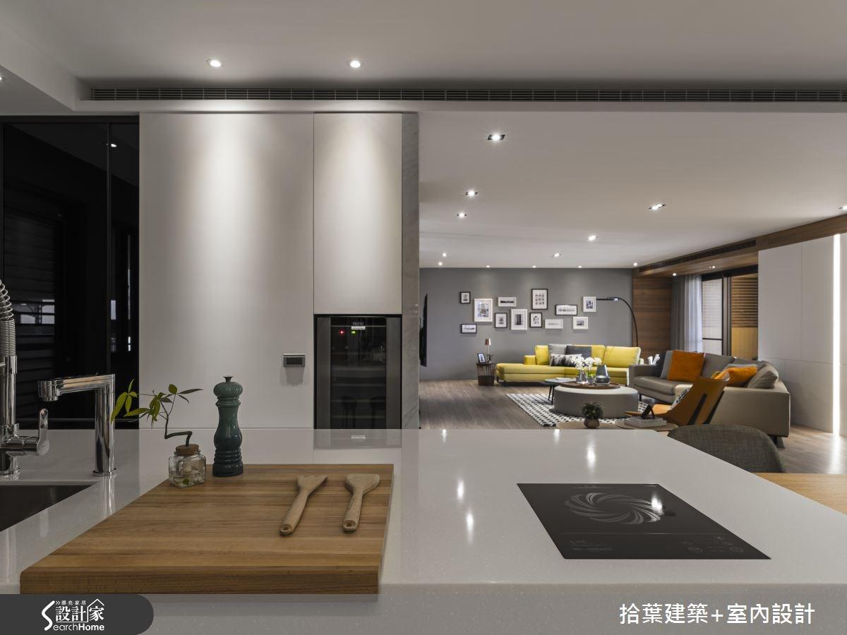60坪新成屋(5年以下)_現代風客廳廚房案例圖片_拾葉建築+室內設計_拾葉_20之10