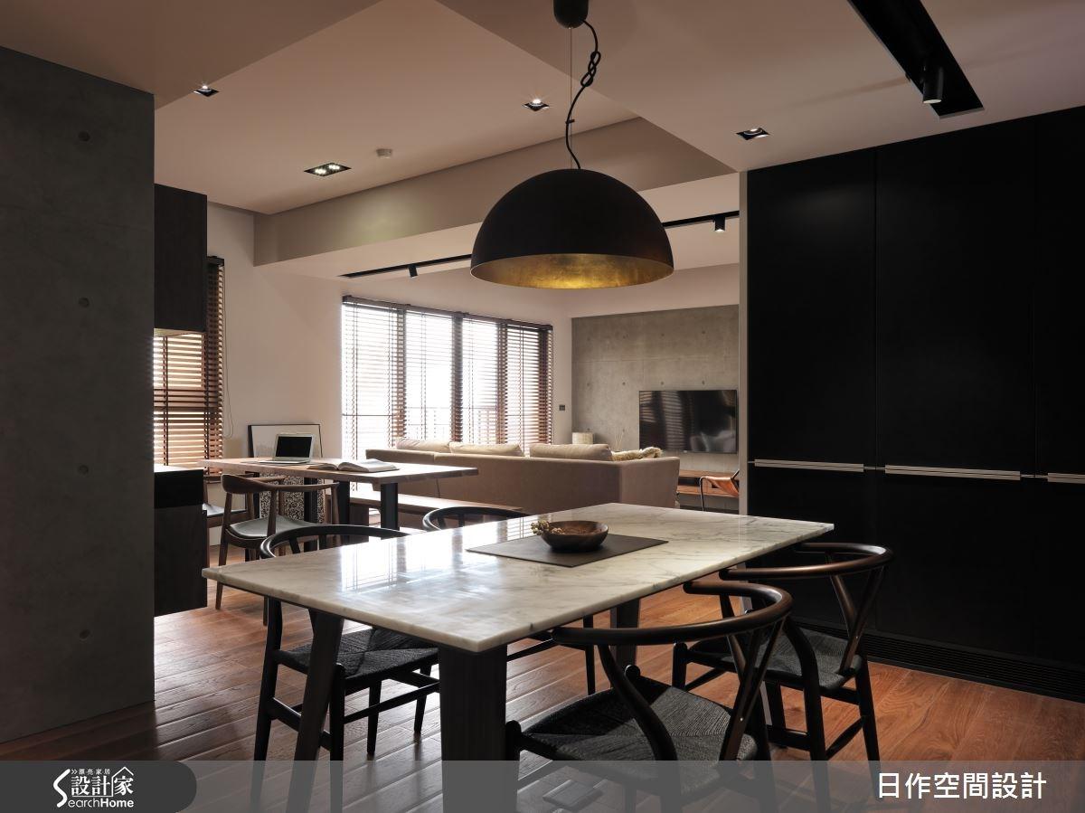 35坪新成屋(5年以下)_現代風客廳餐廳書房案例圖片_日作空間設計有限公司_日作_01之12