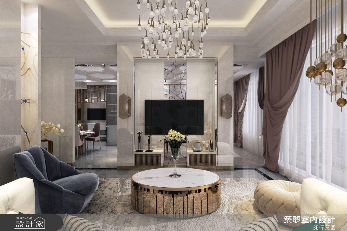 100坪新成屋(5年以下)_新古典客廳案例圖片_築夢室內設計_築夢_16之3
