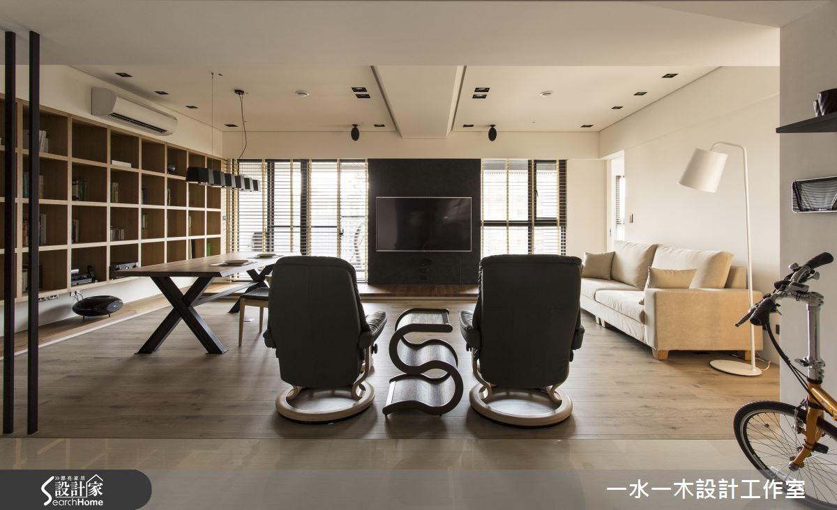 31坪新成屋(5年以下)_休閒風客廳餐廳書房案例圖片_一水一木設計工作室_一水一木_03之4