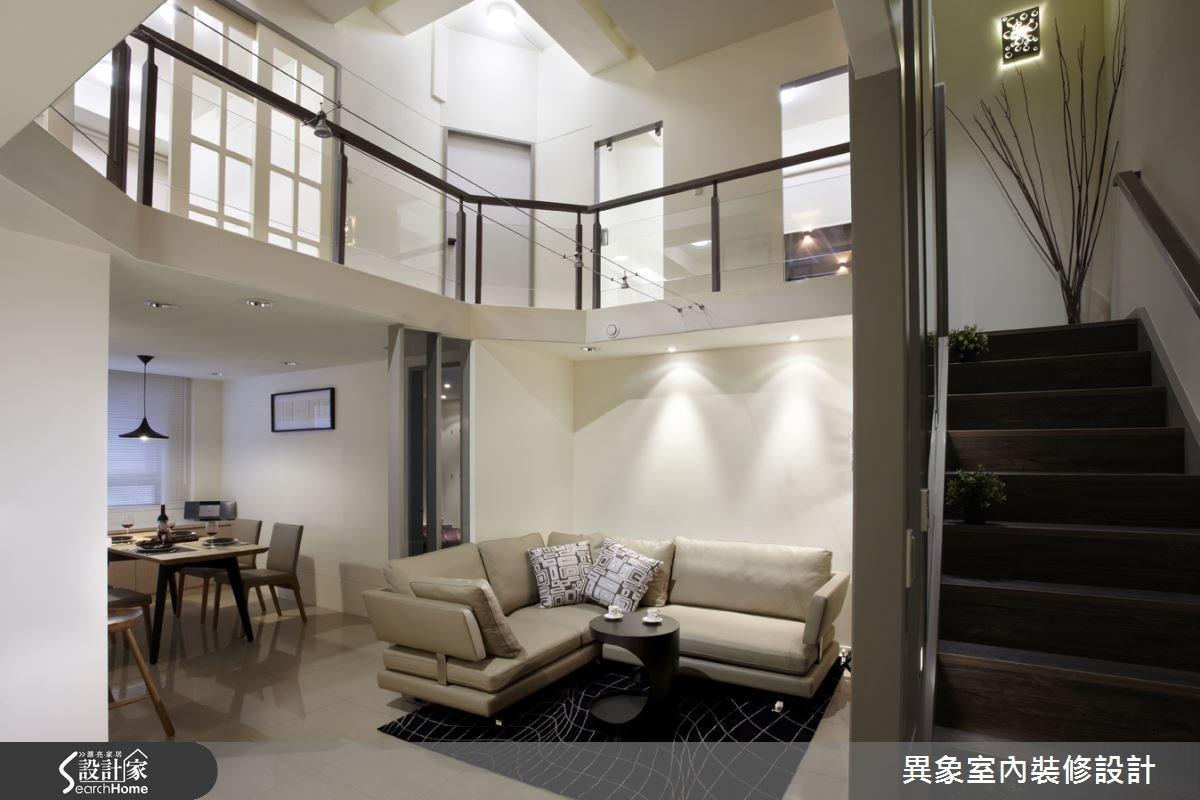 35坪新成屋(5年以下)_混搭風客廳餐廳樓梯案例圖片_異象室內裝修設計有限公司_異象_01之2