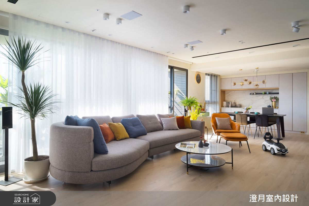 40坪新成屋(5年以下)_混搭風客廳臥榻案例圖片_澄月室內設計_澄月_08之2