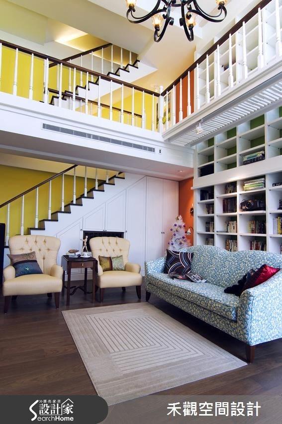 90坪新成屋(5年以下)_美式風客廳樓梯案例圖片_禾觀空間設計_禾觀_06之3