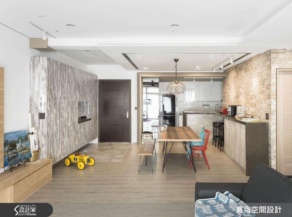 35坪新成屋(5年以下)_北歐風客廳餐廳廚房吧檯案例圖片_莫克空間設計/莫國箴建築師事務所_莫克_02之1