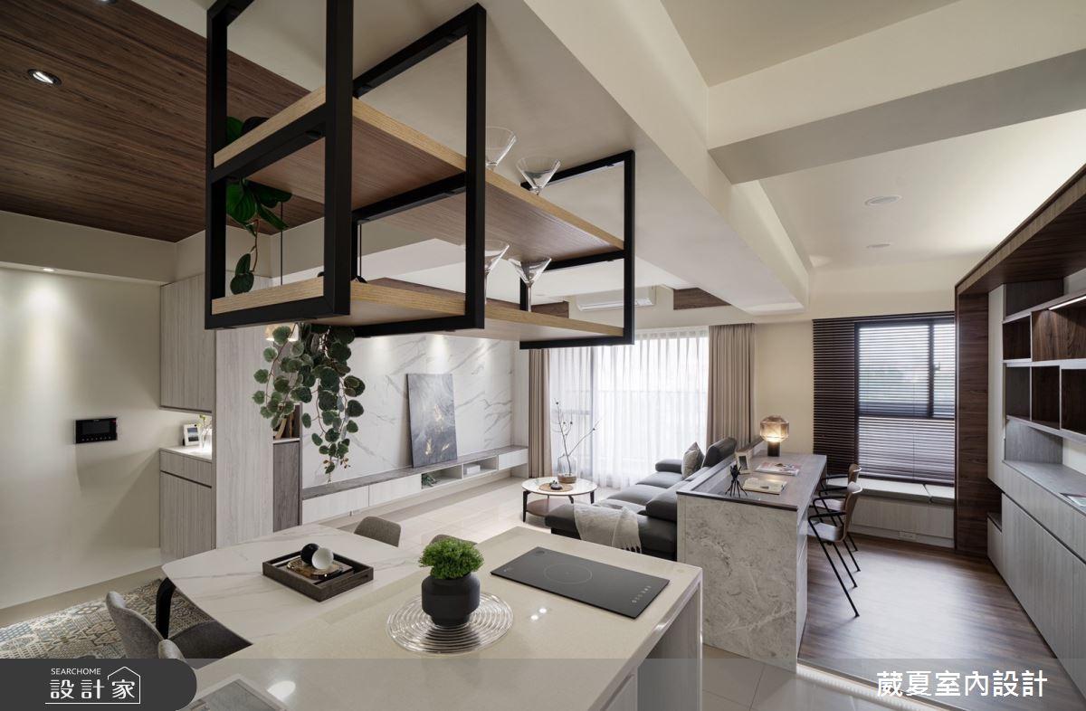 40坪新成屋(5年以下)_現代風客廳廚房吧檯案例圖片_葳夏室內設計_葳夏_17之11