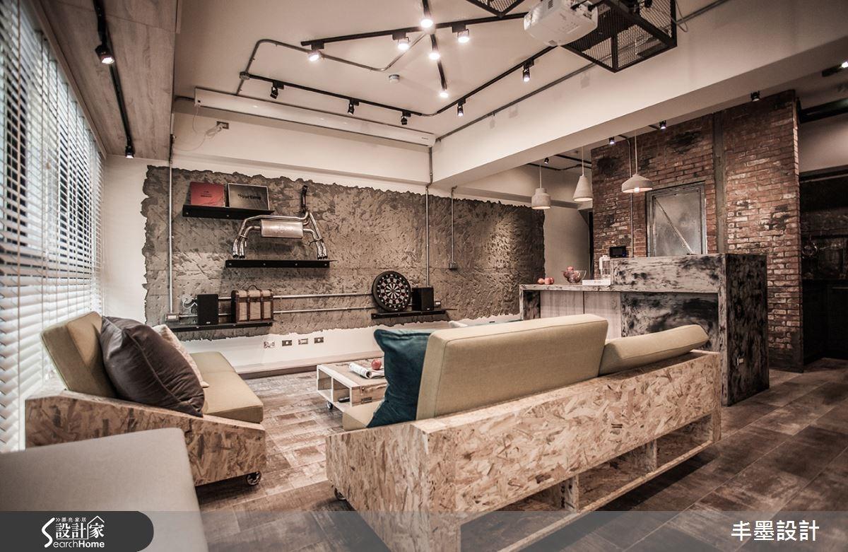 23坪新成屋(5年以下)_工業風客廳吧檯案例圖片_丰墨設計_丰墨_04之16