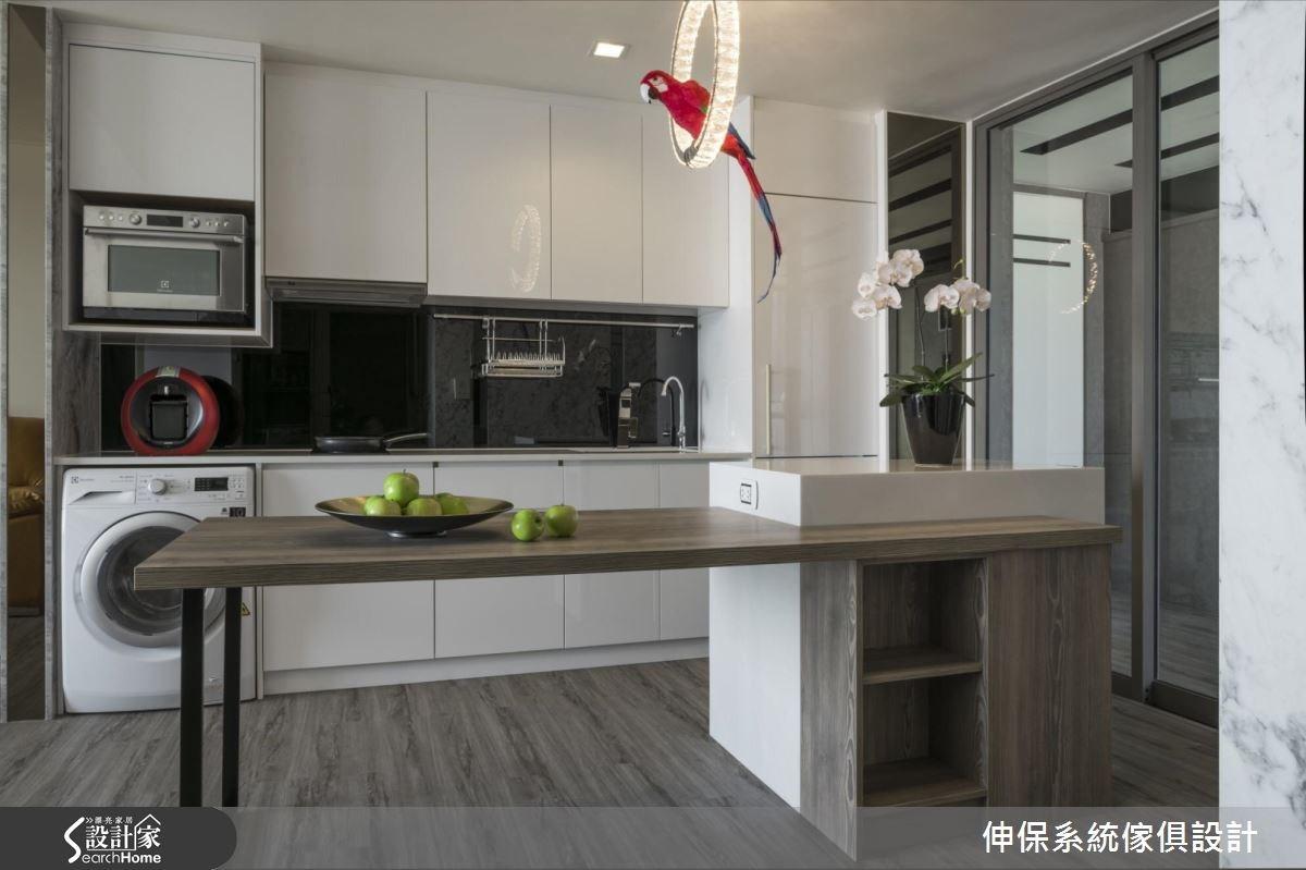 40坪新成屋(5年以下)_混搭風廚房案例圖片_伸保系統傢俱設計_伸保_12之1