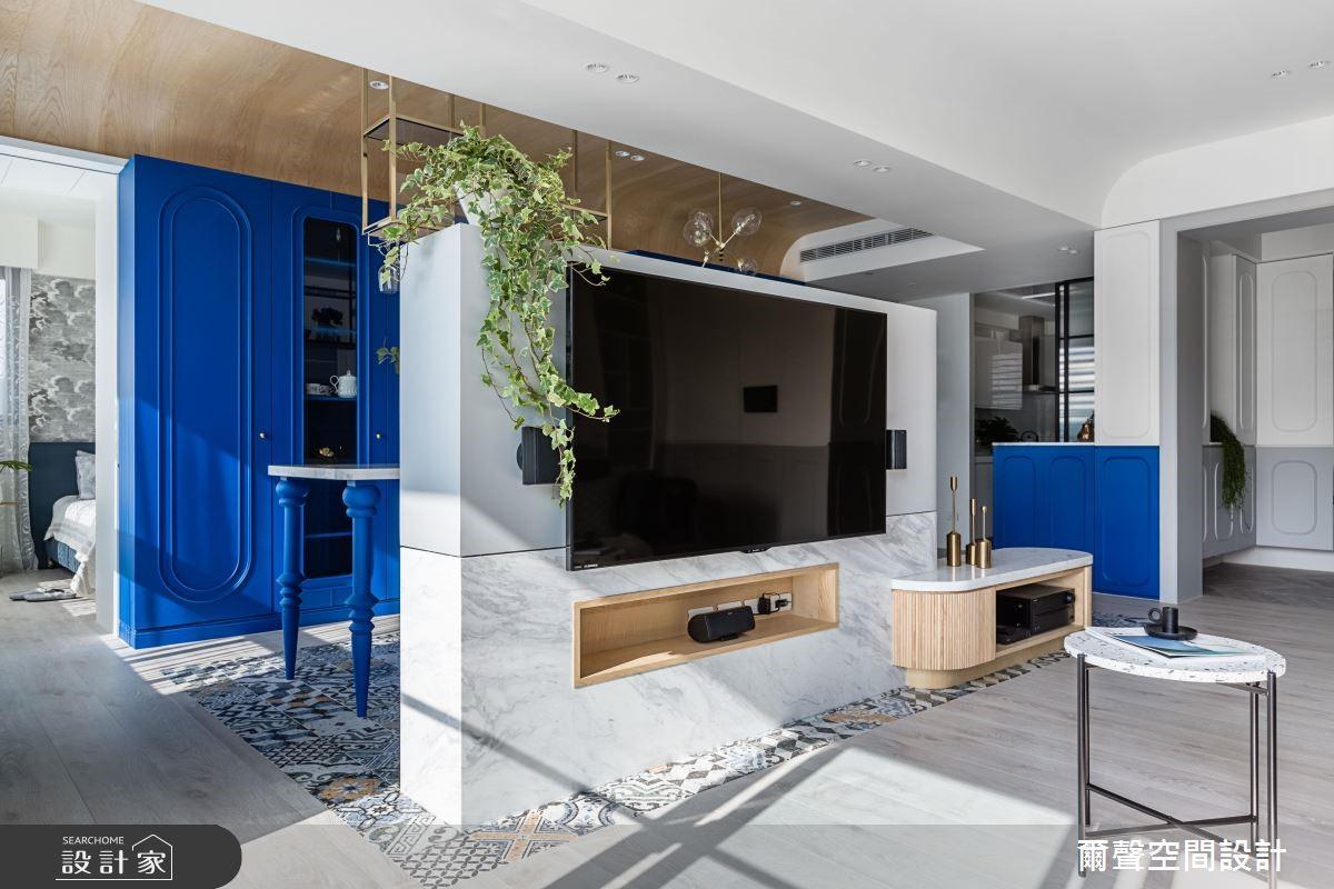 31坪新成屋(5年以下)_混搭風客廳案例圖片_爾聲空間設計_爾聲_The Memory of Majectic Blue 沁藍.晴山之13