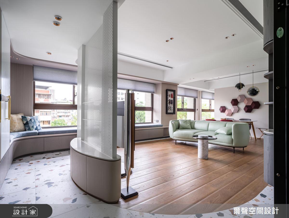 40坪新成屋(5年以下)_混搭風客廳臥榻案例圖片_爾聲空間設計_爾聲_Rink a Blink 庭樹泊舟之2