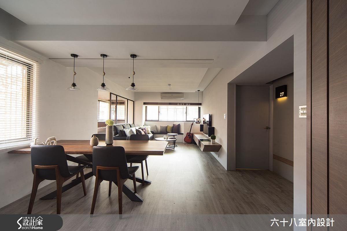 29坪中古屋(5~15年)_工業風客廳餐廳臥榻案例圖片_六十八室內設計有限公司_六十八_11之2