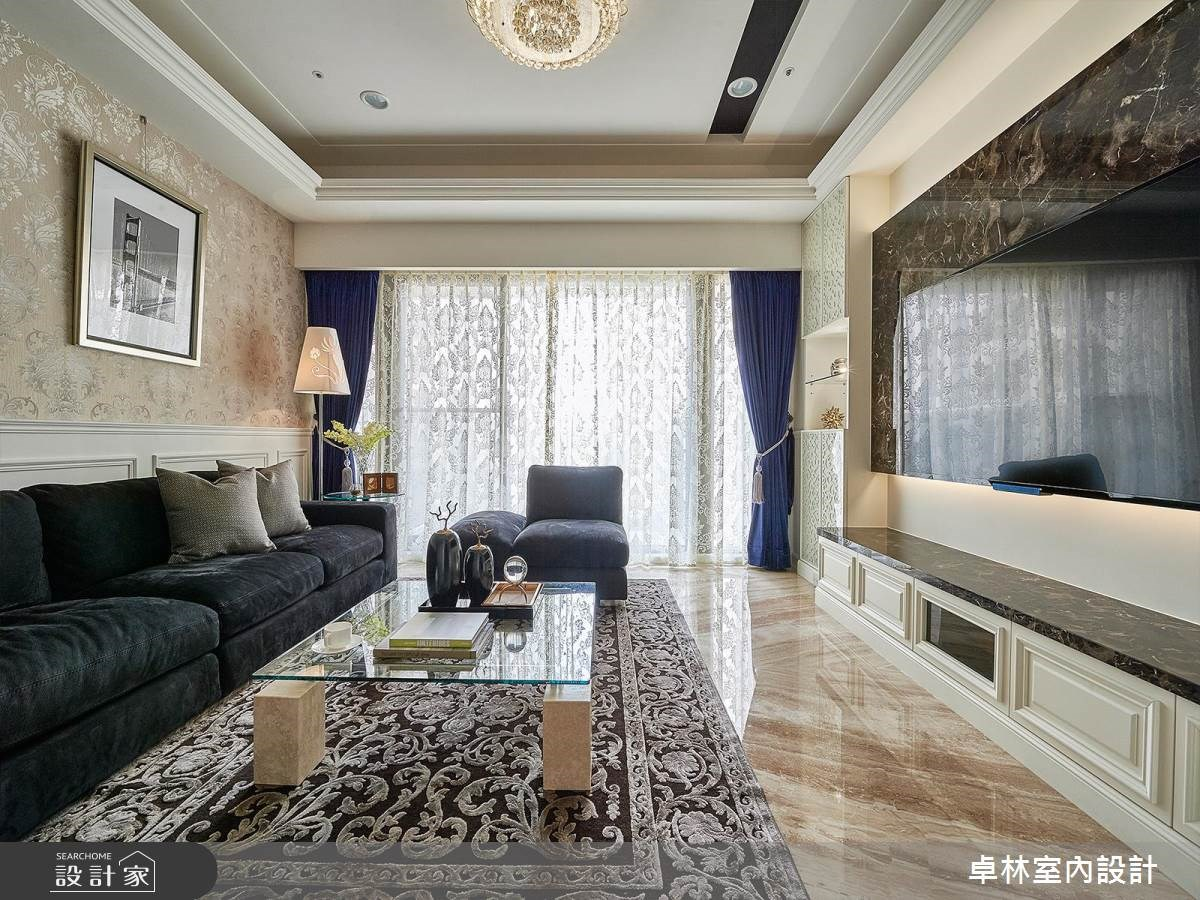 33坪新成屋(5年以下)_新古典客廳案例圖片_卓林室內設計有限公司_卓林_01之3