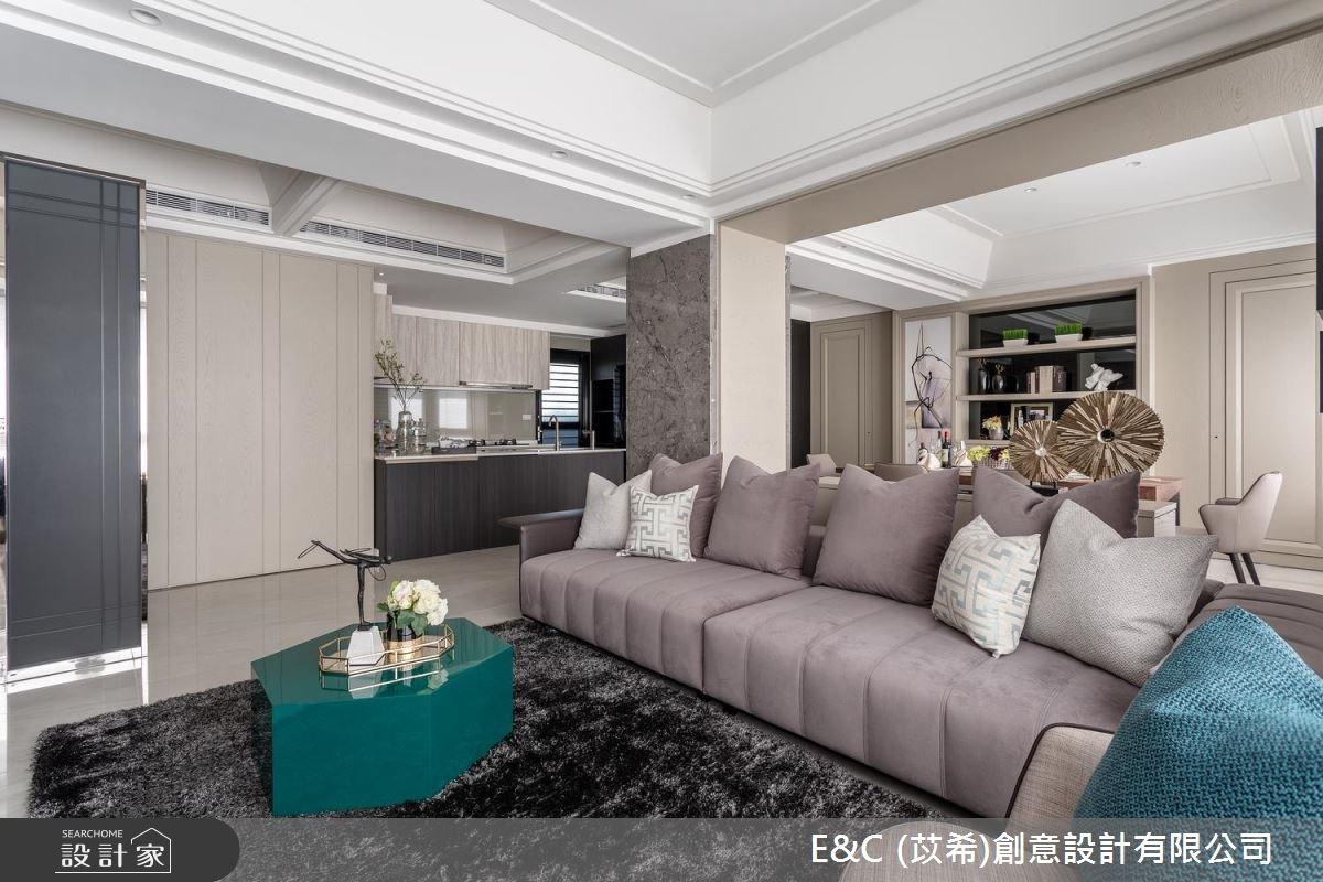 32坪中古屋(5~15年)_奢華風客廳餐廳廚房案例圖片_苡希創意設計有限公司_苡希_04之4