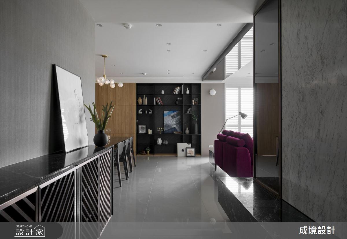 30坪新成屋(5年以下)_混搭風玄關客廳餐廳案例圖片_成境設計_成境_12之1