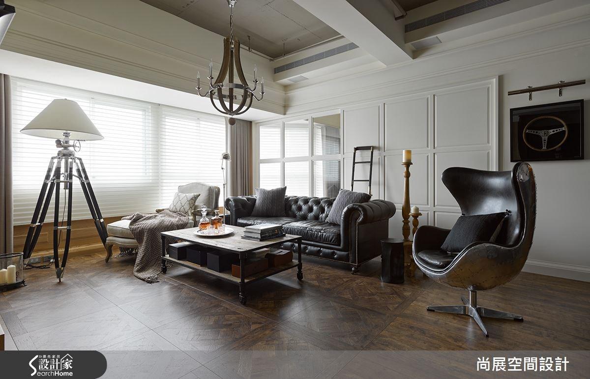 40坪新成屋(5年以下)_美式風客廳案例圖片_尚展空間設計_尚展_59之3