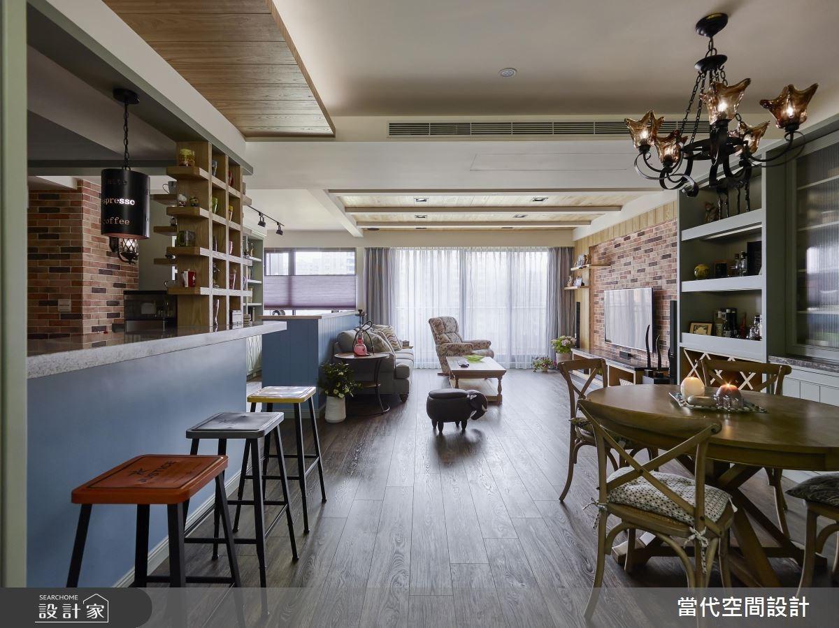 35坪新成屋(5年以下)_鄉村風客廳餐廳案例圖片_當代空間有限公司_當代_23之4