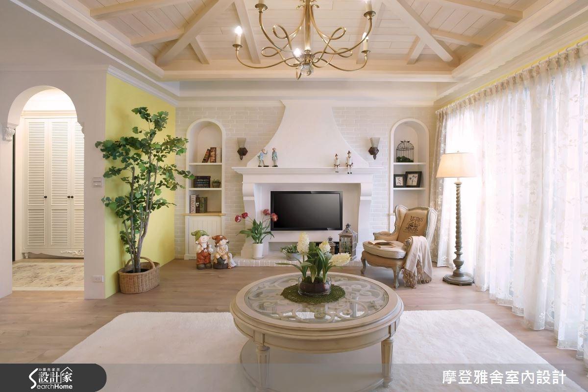42坪新成屋(5年以下)_鄉村風客廳案例圖片_摩登雅舍室內設計_摩登雅舍_50之2