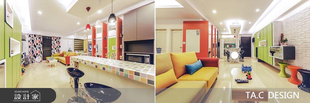 22坪新成屋(5年以下)_普普風客廳餐廳廚房吧檯案例圖片_太工創作設計_太工_06之3