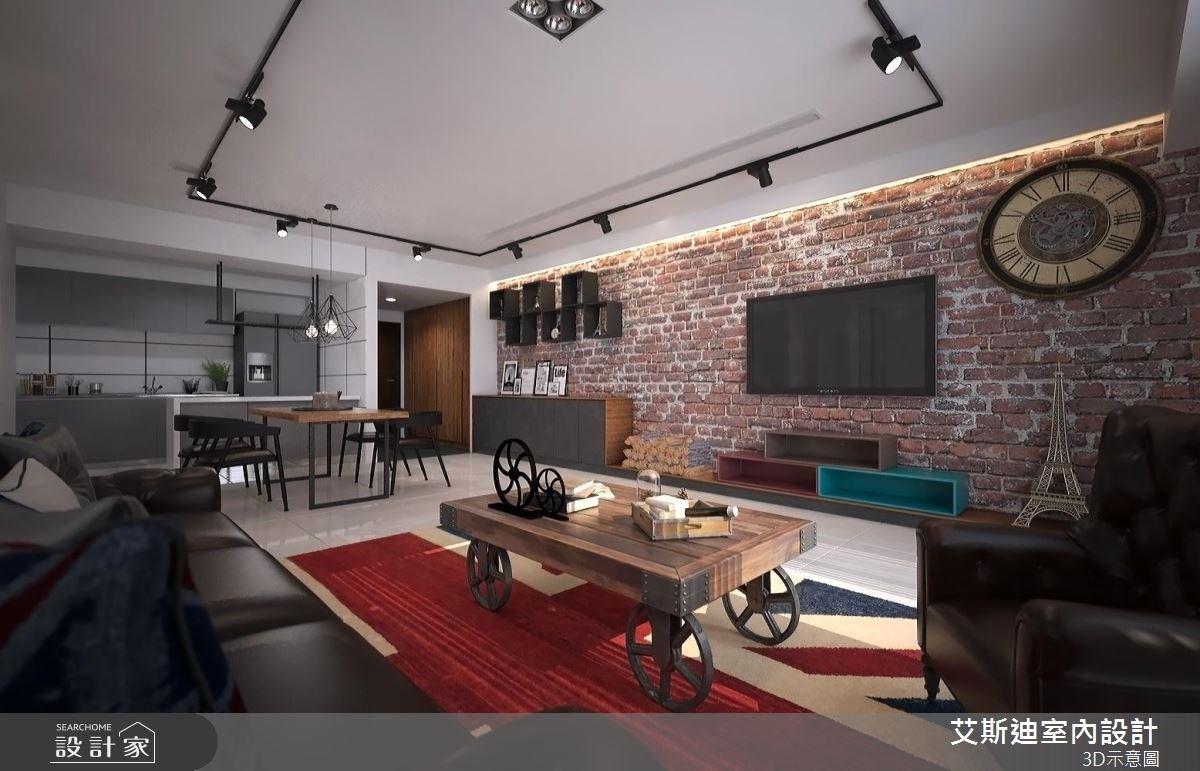 50坪新成屋(5年以下)_工業風客廳案例圖片_艾斯迪室內設計_艾斯迪_02之4