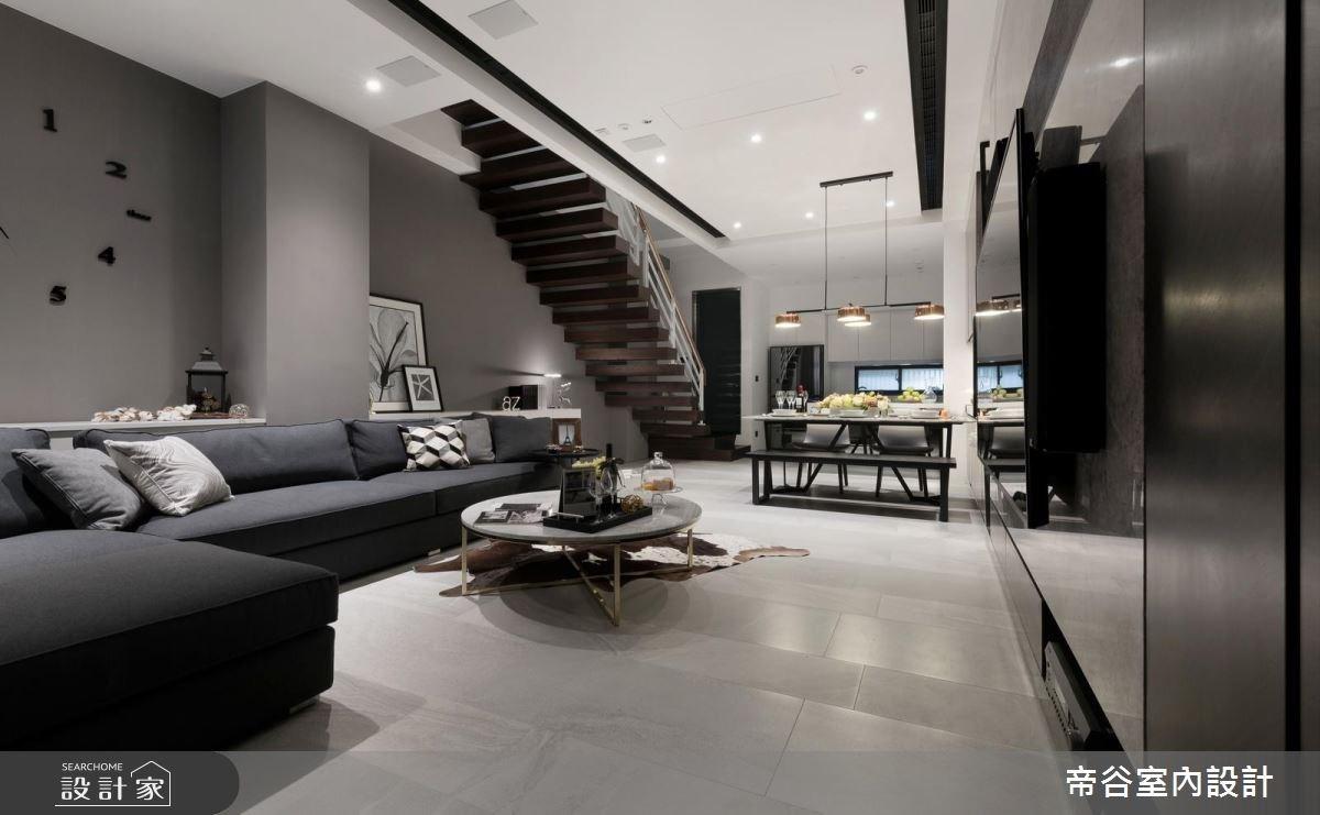 60坪新成屋(5年以下)_現代風玄關客廳樓梯案例圖片_帝谷室內裝修設計有限公司_帝谷_21之2