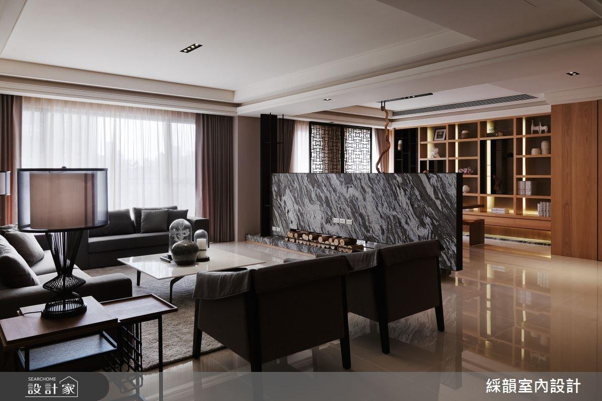 100坪新成屋(5年以下)_新中式風客廳案例圖片_綵韻室內設計有限公司_綵韻_03之4