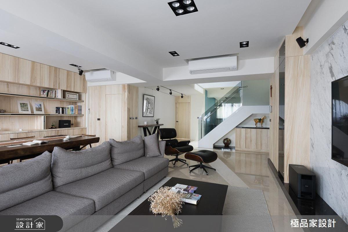 60坪新成屋(5年以下)_簡約風客廳餐廳工作區樓梯案例圖片_極品家設計_極品家_15之4
