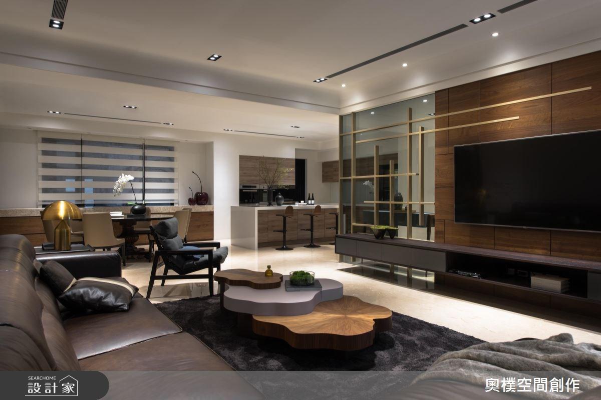 130坪預售屋_現代風客廳餐廳吧檯案例圖片_奧樸空間創作有限公司_奧樸_09之3