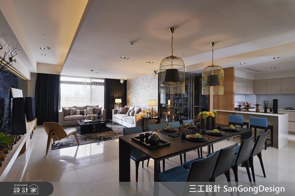 60坪新成屋(5年以下)_混搭風客廳餐廳吧檯案例圖片_三工設計 SanGongDesign_三工_06之2