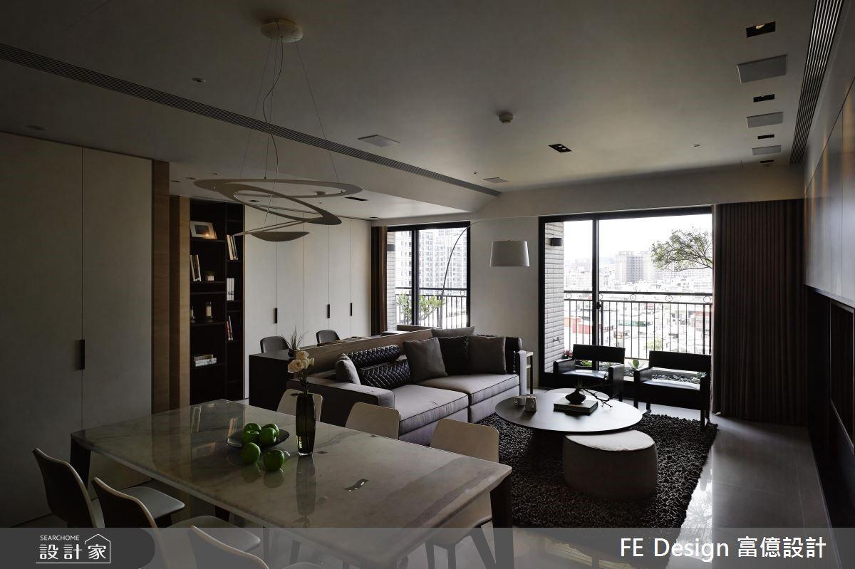 45坪預售屋_現代風客廳餐廳案例圖片_富億空間設計_富億_07之1