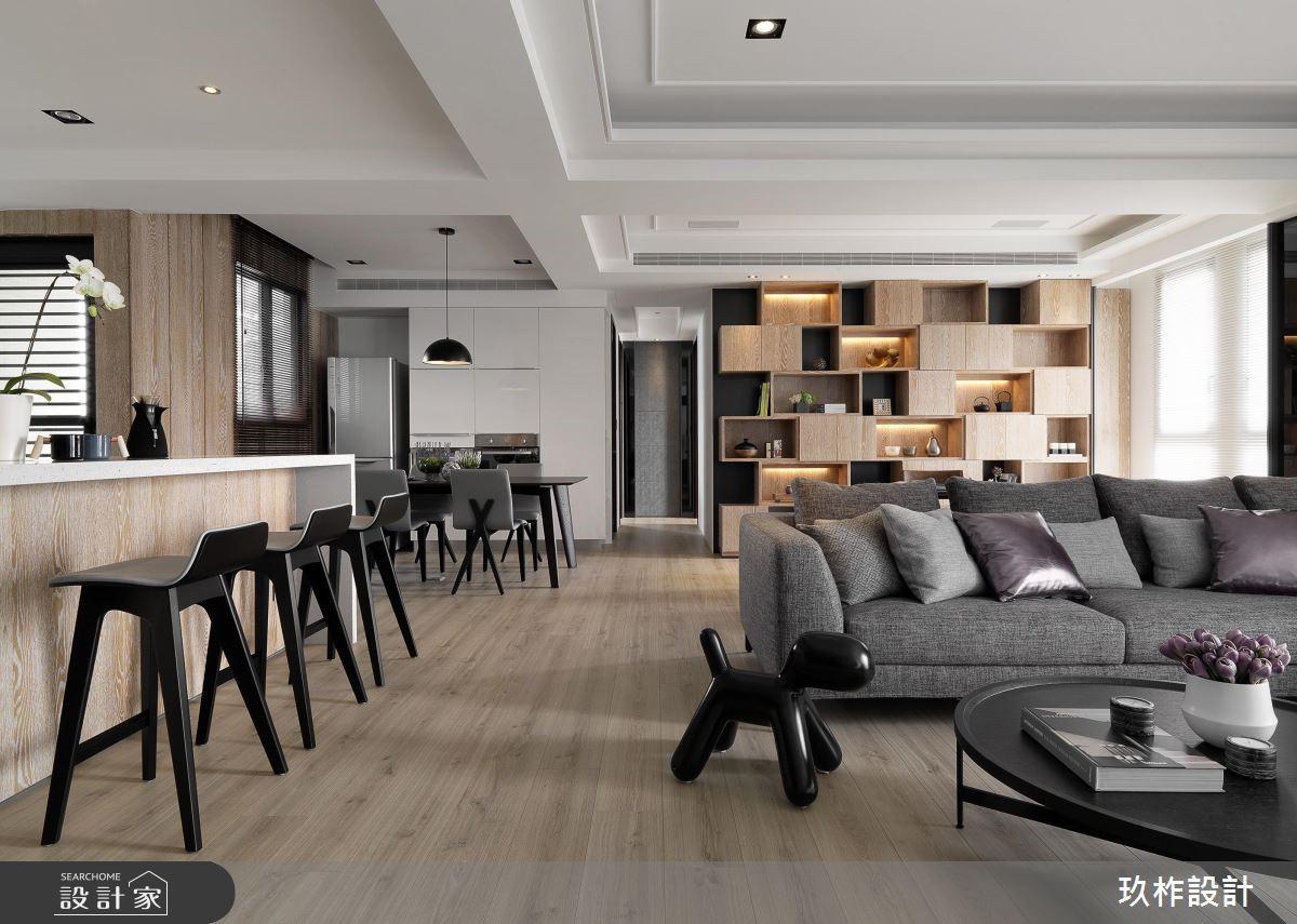 40坪新成屋(5年以下)_現代風客廳吧檯案例圖片_玖柞設計_玖柞_02之2