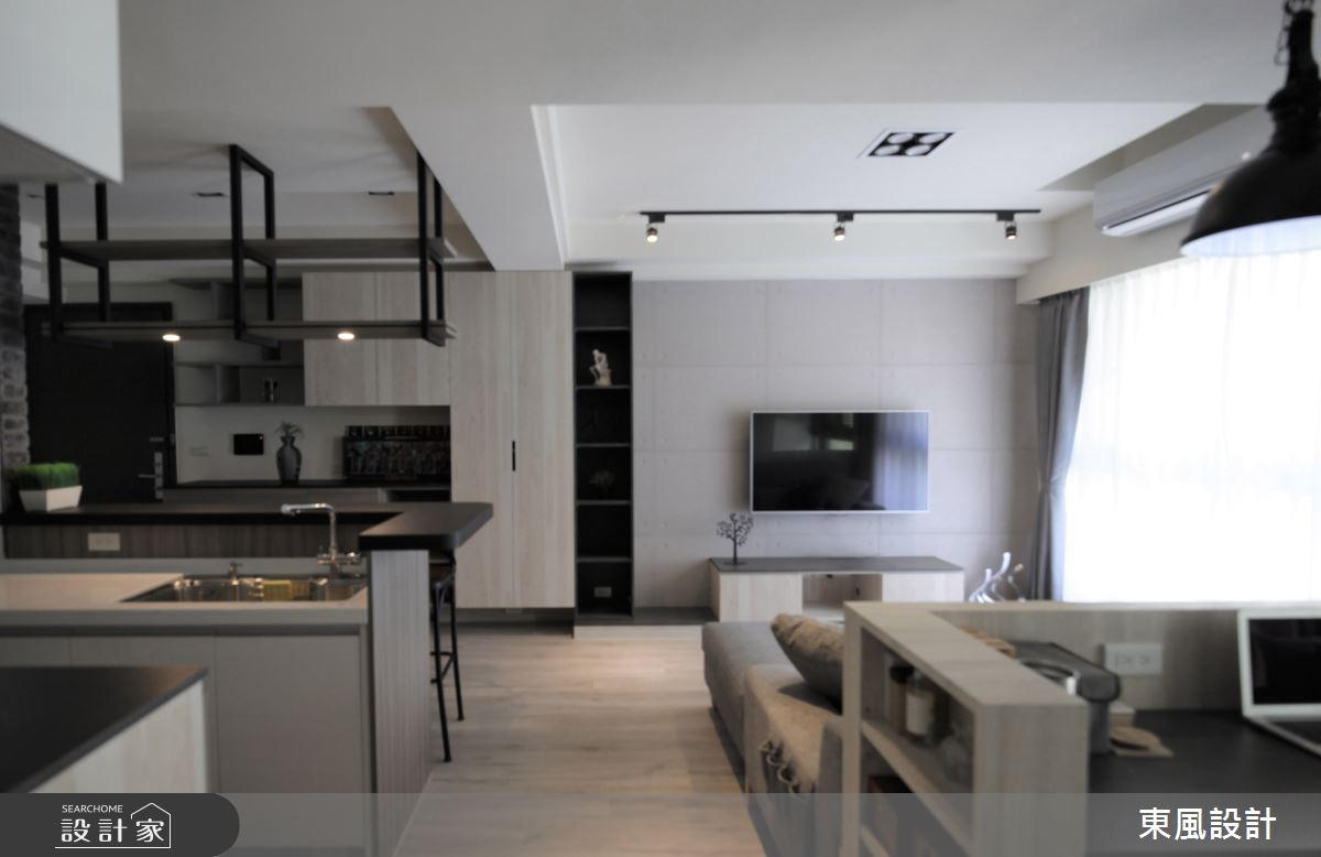 35坪新成屋(5年以下)_工業風客廳案例圖片_東風室內設計_東風_45之3