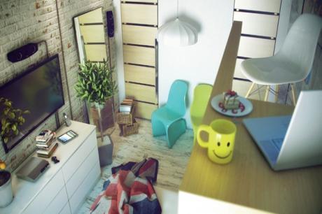 粗獷材質組合,俄羅斯公寓變身前衛loft宅