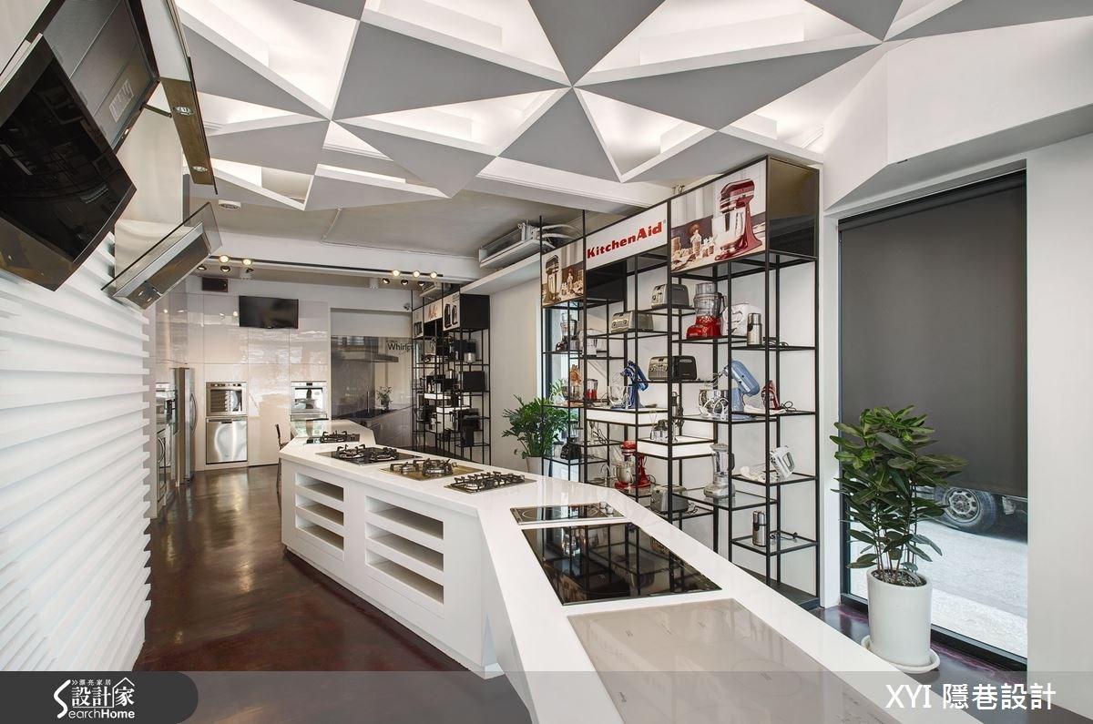 幾何造型勾勒現代科技質感,老屋變身活力展售空間!