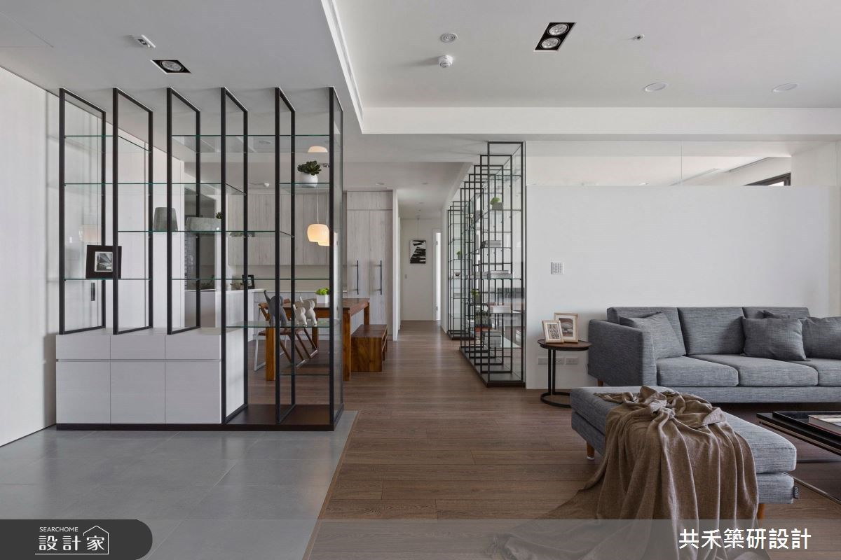 玻璃X開放收納X簡約現代 訂製一家四口陽光宅